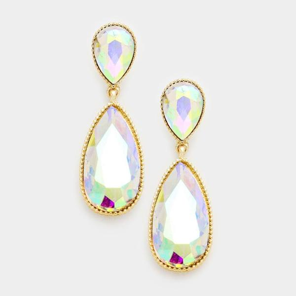 Abalone Oval Drop Crystal Gold Tone Evening Bridal Dangle Earrings