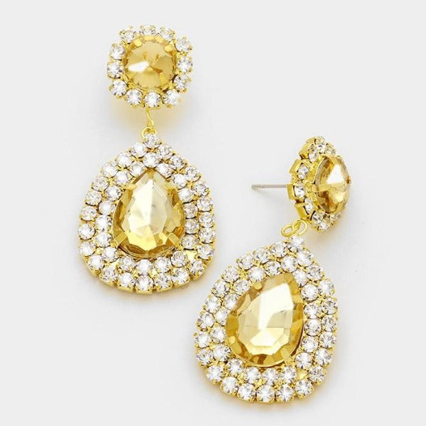 Topaz Colored Crystal & Clear Rhinestone Marquise Gold Evening Earrings
