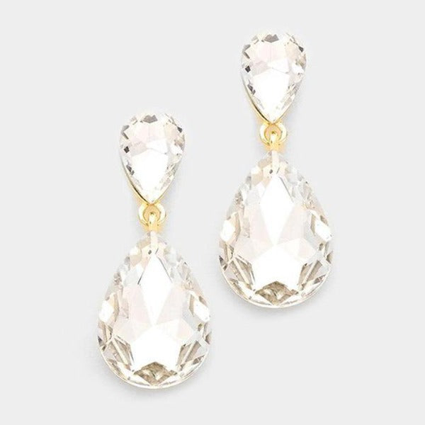 Clear Crystal Teardrop Gold Dangle Evening Earrings