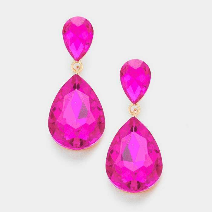 Pink Fuchsia Crystal Teardrop Gold Dangle Earrings