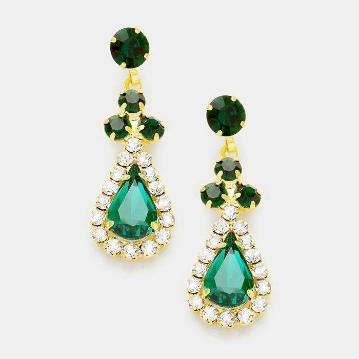 Emerald Green Pave Trim Rhinestone Evening Gold Bridal Earrings