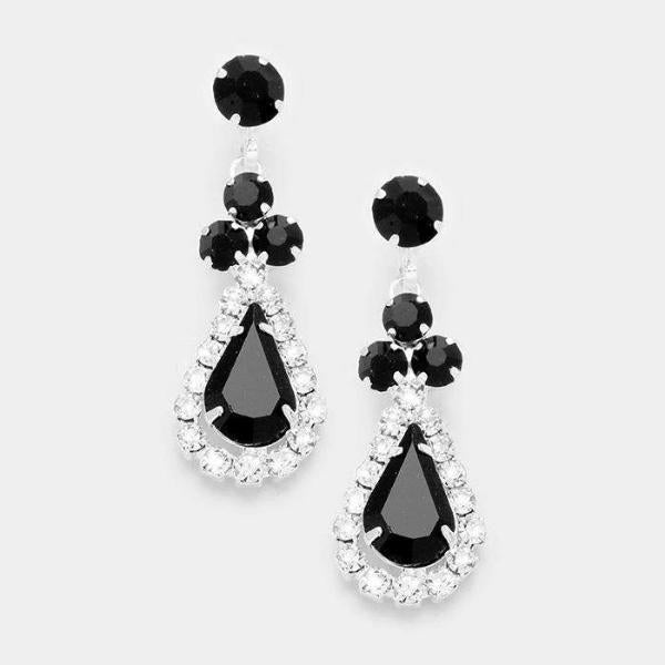 Black Crystal Clear Pave Trim Rhinestone Evening Earrings