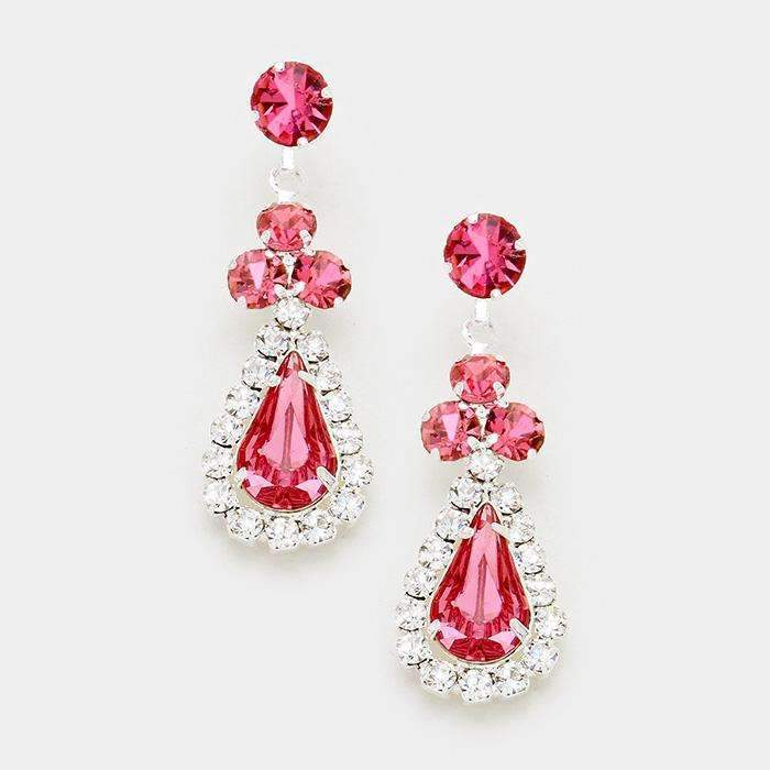 Pink & Silver Pave Trim Rhinestone Evening Bridal Earrings