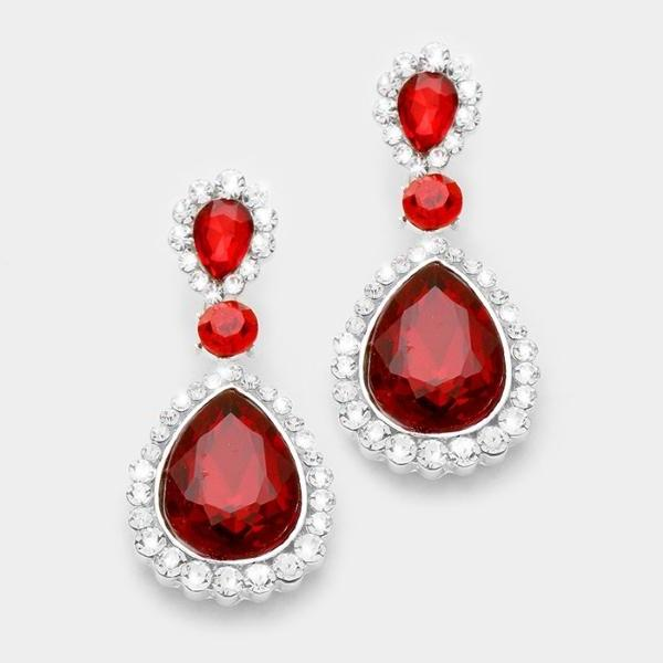 Red Pave Trim Crystal Teardrop Silver Evening Dangle Earrings
