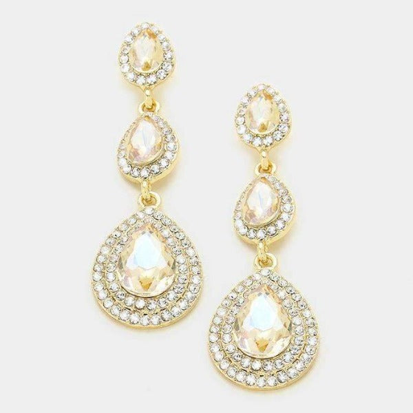 Triple Glass Crystal Faux Topaz Gold Earrings