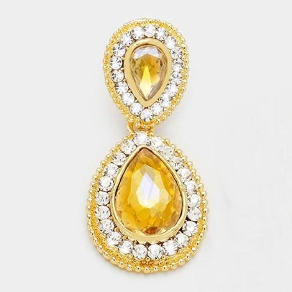 Topaz Colored Crystal Marquise Evening Bridal Gold Dangle Earrings