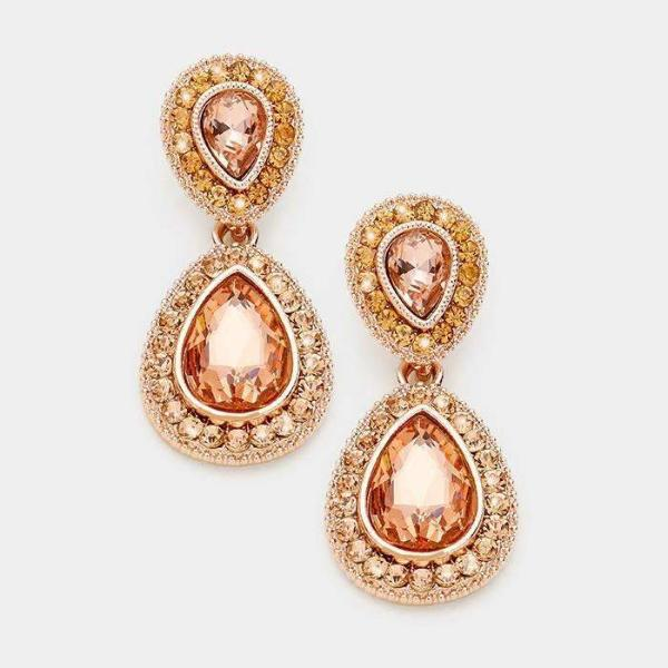 Peach & Rose Gold Crystal Marquise Evening Earrings
