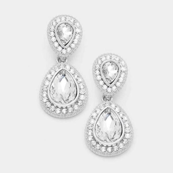 Clear Crystal Marquise Silver Evening Dangle Earrings