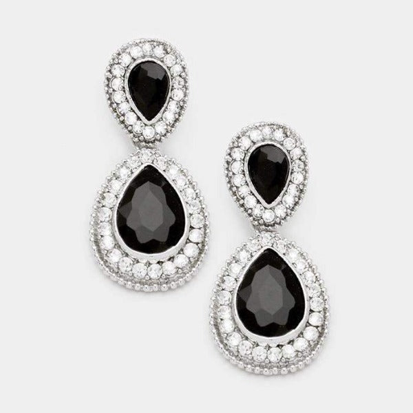 Black Crystal Rhinestone Marquise Silver Evening Bridal Dangle Earrings