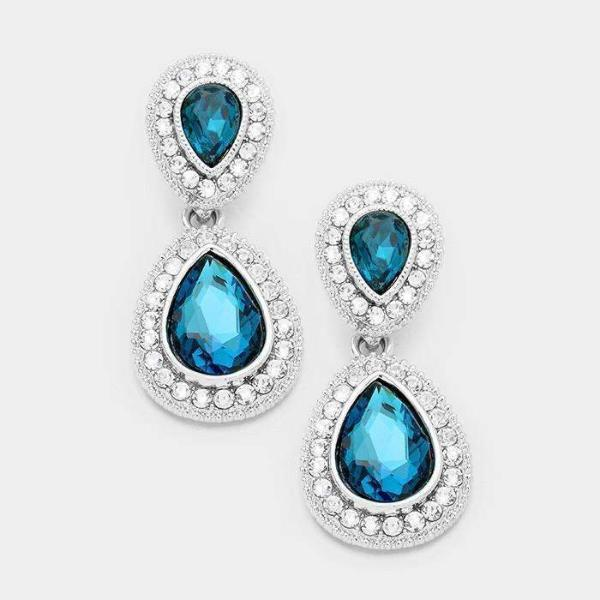 Blue Zircon Crystal Rhinestone Marquise Evening Silver Dangle Earrings