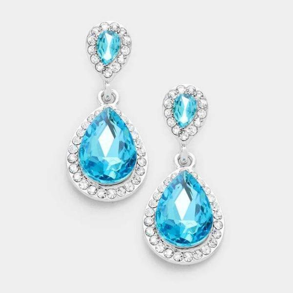 Aqua Blue Crystal Teardrop Evening Silver Dangle Earrings