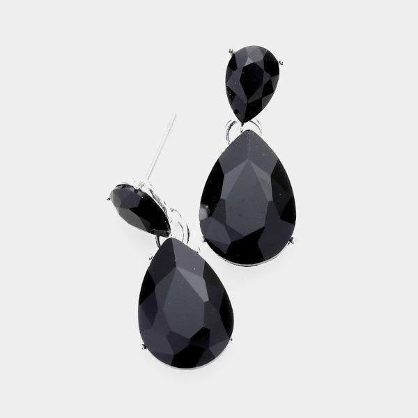 Black Crystal Double Teardrop Earrings