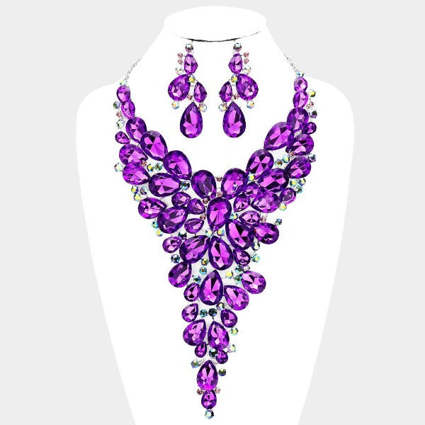 Crystal Teardrop Purple Cluster Vine Necklace Set