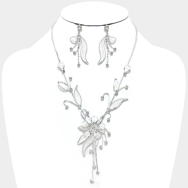 Flower Crystal Rhinestone Mesh Necklace Set