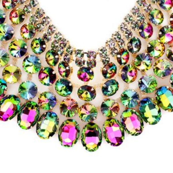 Vitrail Crystal Glass Bib Statement Necklace Set