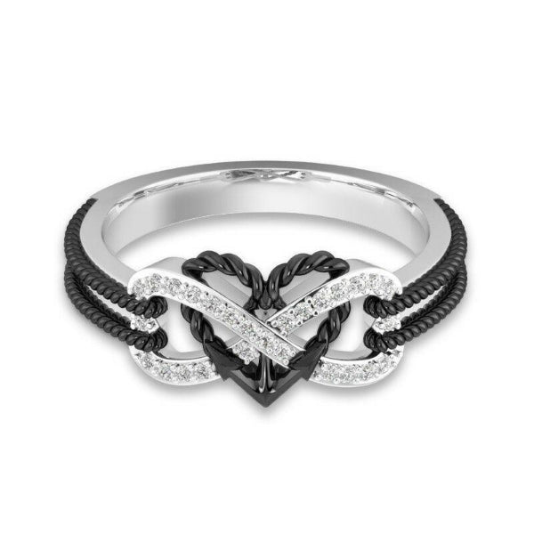 Intertwined Heart Rhinestone Silver Ring Size 8