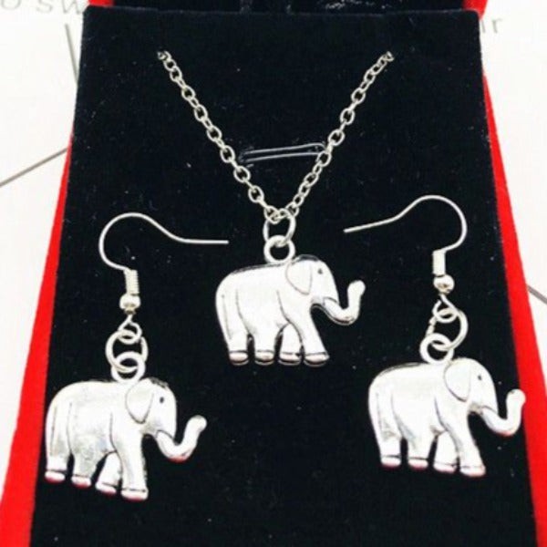 Elephant Silver Necklace & Matching Earrings