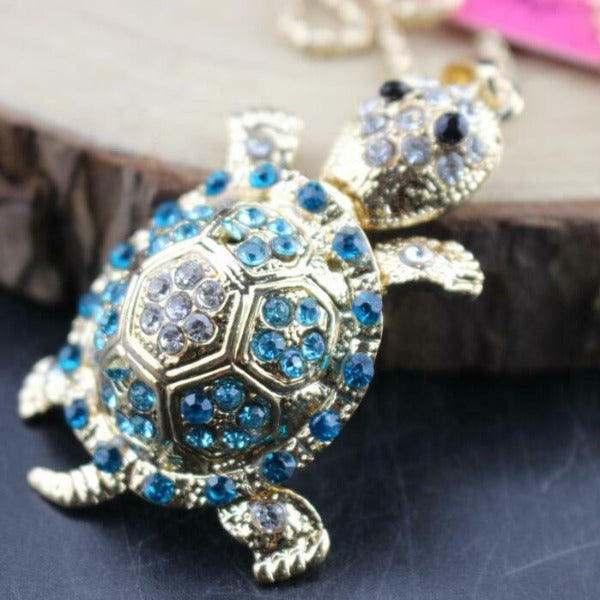 Betsey Johnson Turtle Blue Crystal Rhinestone Gold Pendant Necklace