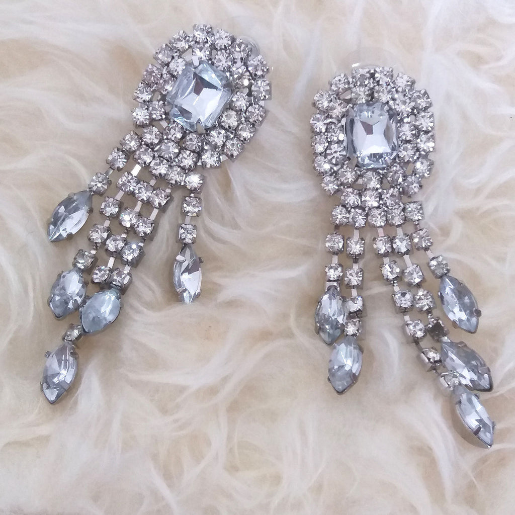 Crystal Chandelier Silver Evening Earrings