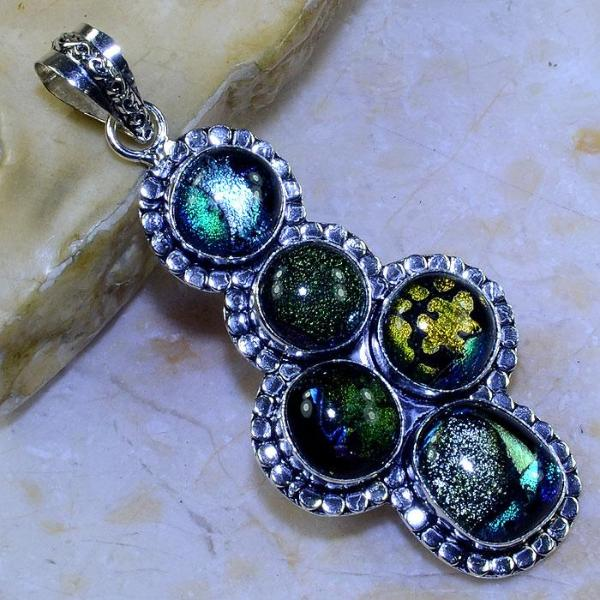 "FANCY DICHROIC GLASS .925 SILVER PLATED PENDANT 3 1/4"" + 20"" CORD NECKLACE"
