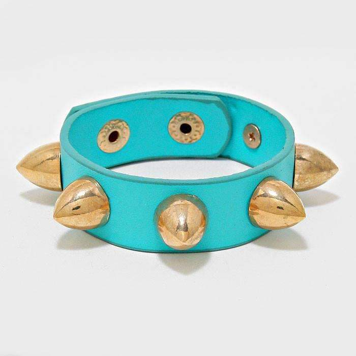 Teal Blue Faux Leather Gold Spike Studded Punk Wrap Bracelet