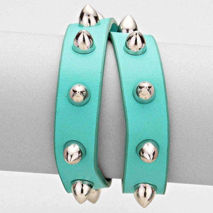 Teal Blue & Rhodium Spike Studded Punk Faux Leather Double Wrap Bracelet