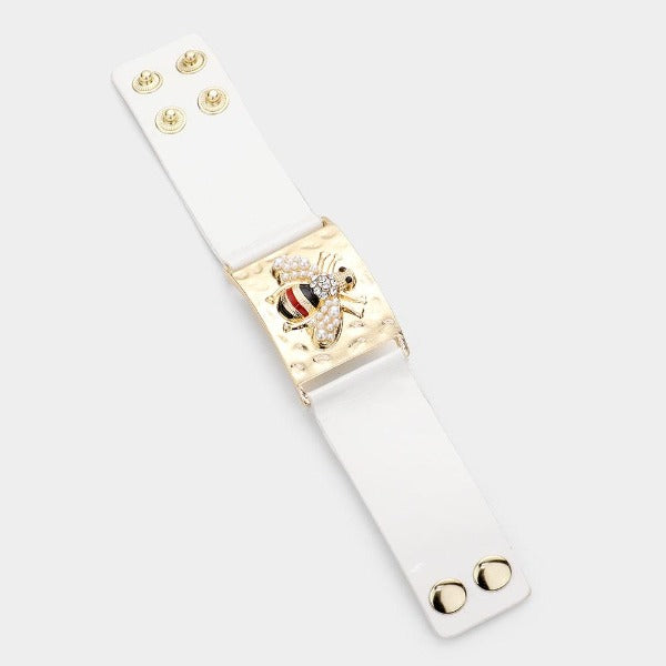 Honey Bee Pearl Accented Metal Rectangle Bracelet