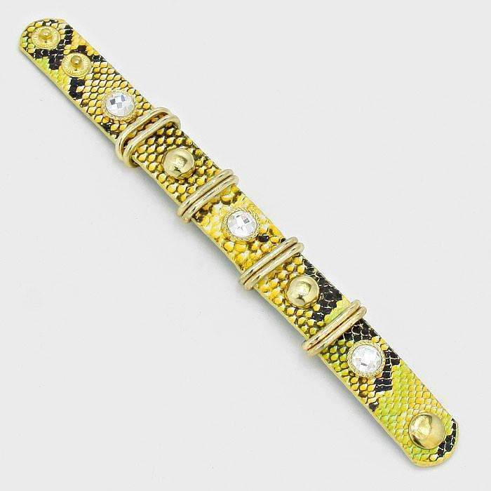 Yellow Studded Metal Hoop Snake Skin Band Bracelet