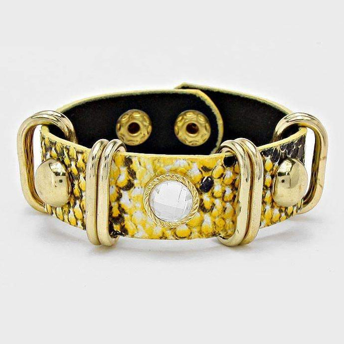 Yellow Studded Metal Hoop Snake Skin Band Trendy Fashion Bracelet
