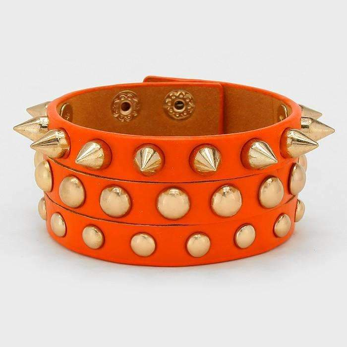 Orange Studded Spike Leather Trendy Fashion Wrap Bracelet
