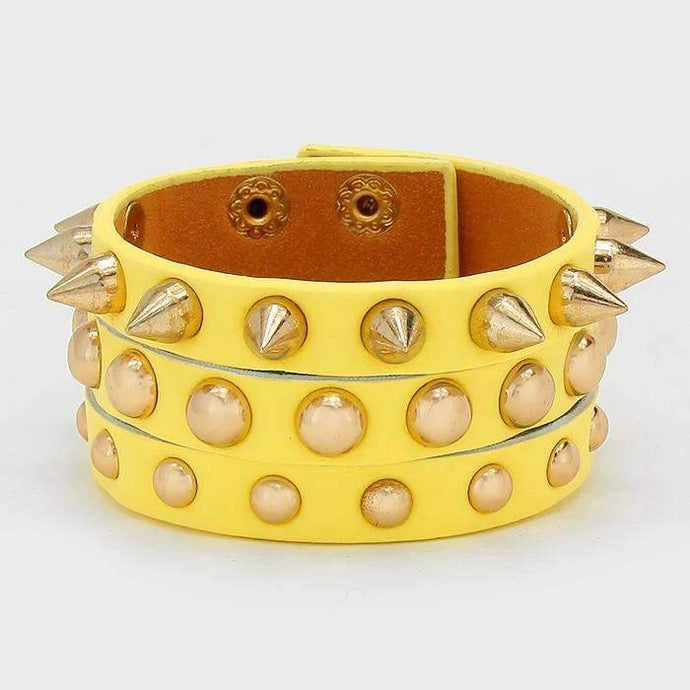 Yellow & Gold Studded Spike Leather Trendy Fashion Wrap Bracelet