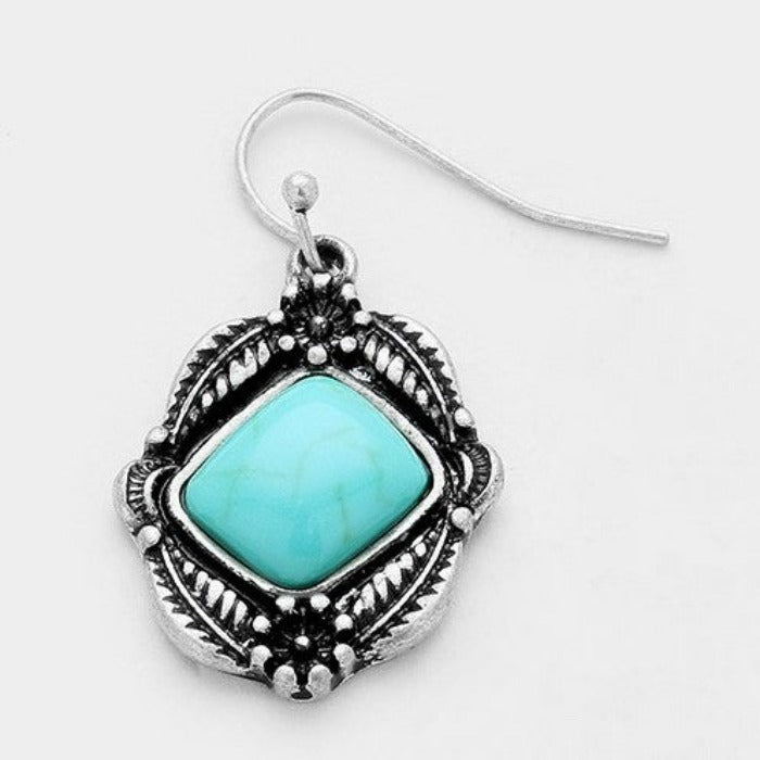 Turquoise (Faux) Bead Small Antique Silver Pierced Earrings
