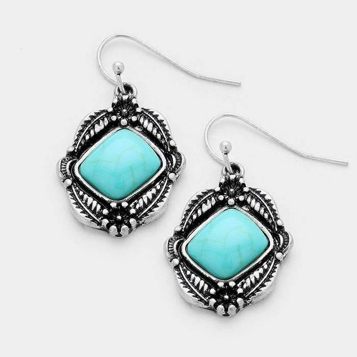 Turquoise Antique Silver Burnished Pierced Dangle Earrings