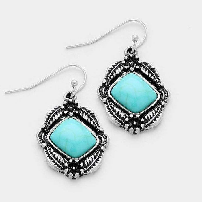 Turquoise Antique Silver Burnished Earrings