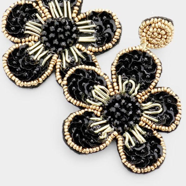 Flower Black Seed Bead Trim Dangle Earrings