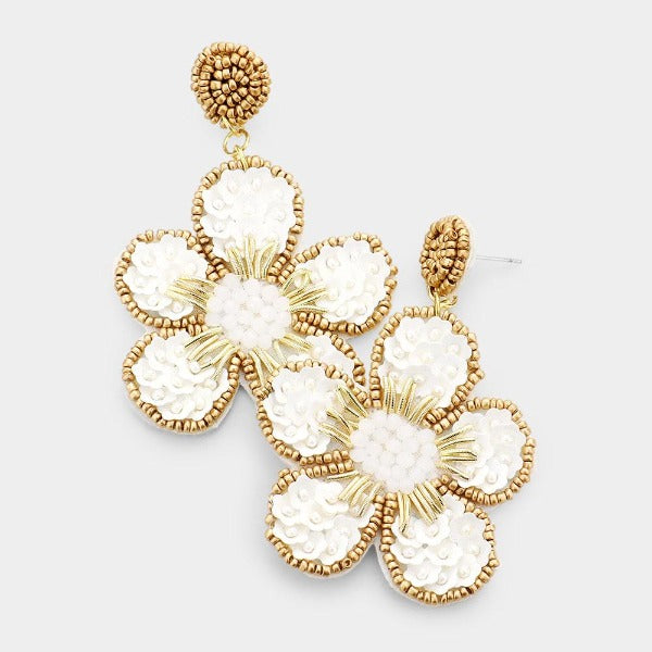 Flower Ivory Seed Bead Trim Dangle Earrings