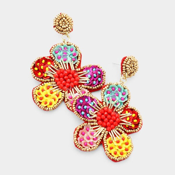Flower Multi-Color Seed Bead Trim Dangle Earrings