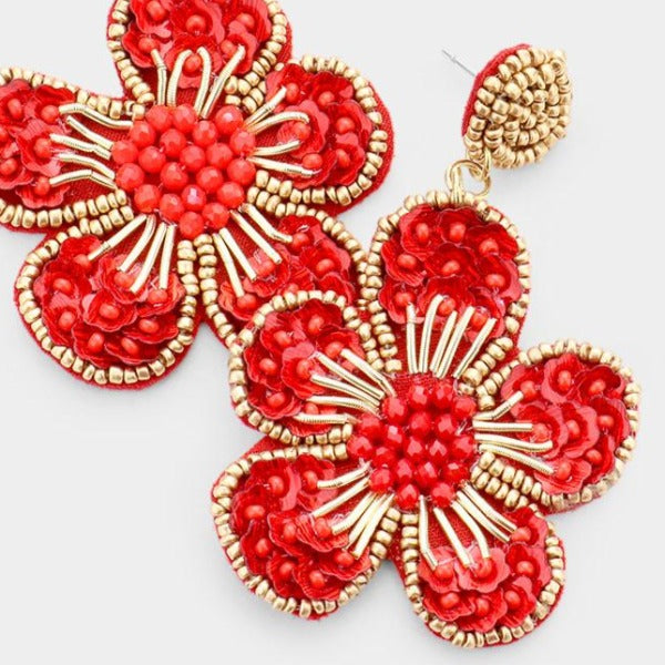 Flower Red Seed Bead Trim Dangle Earrings
