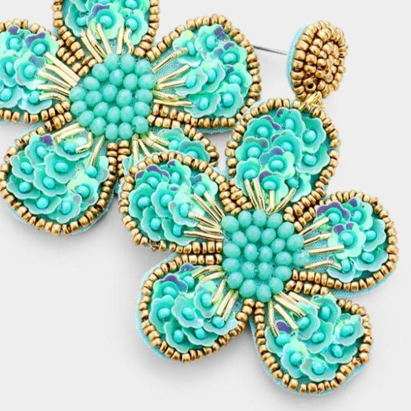 Flower Turquoise Blue Seed Bead Trim Dangle Earrings