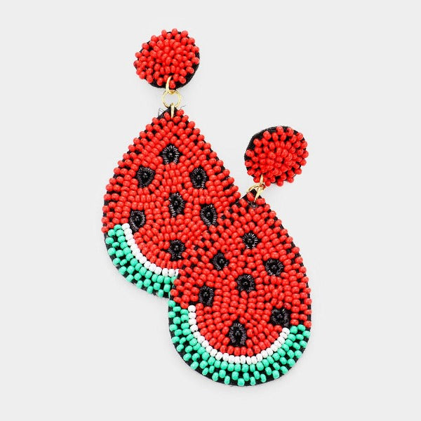 Watermelon Felt Back Seed Beaded Dangle Earrings
