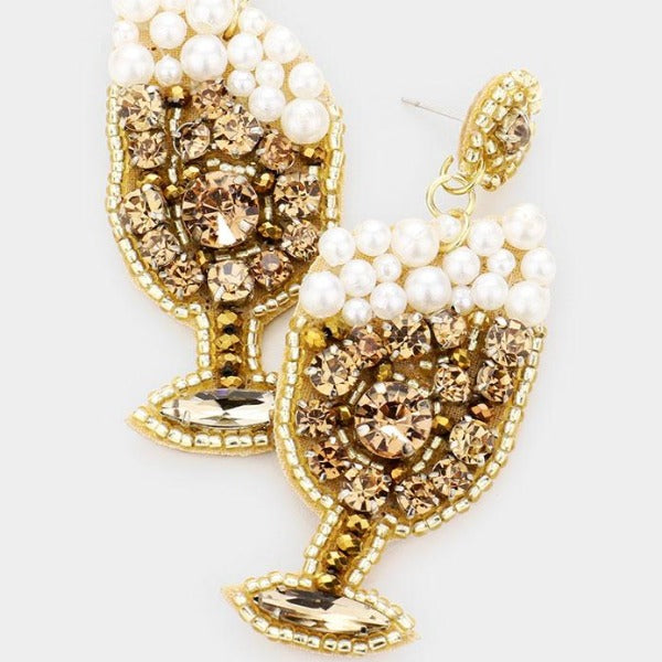 Champagne Glass Pearl & Rhinestone Earrings
