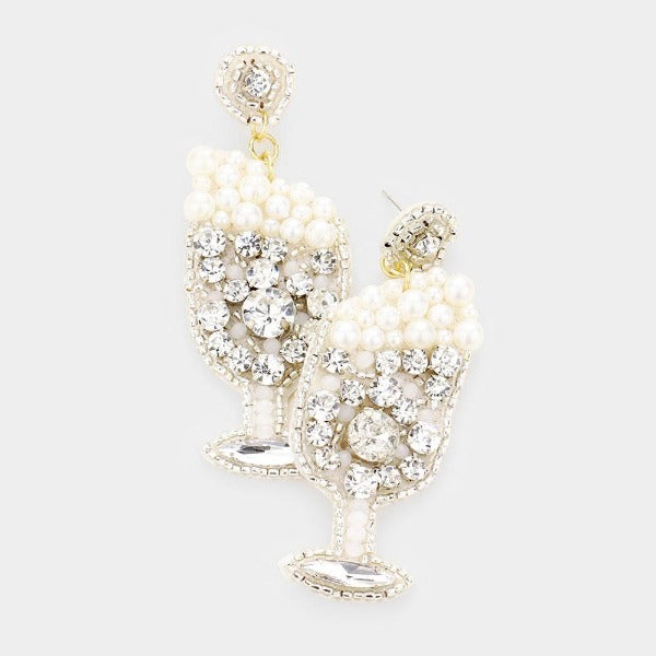 Ivory Pearl Round Stone Cluster Champagne Dangle Earrings