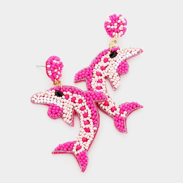 Dolphin Pink Seed Bead Felt Back Earrings