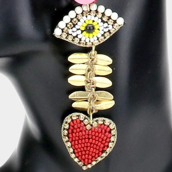 Evil Eye Accented Heart Link Earrings