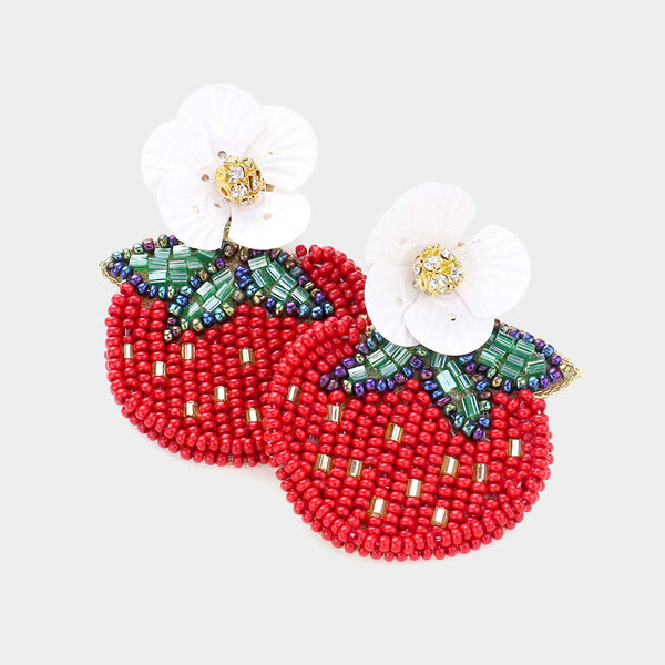 Strawberry Flower Seed Bead Earrings