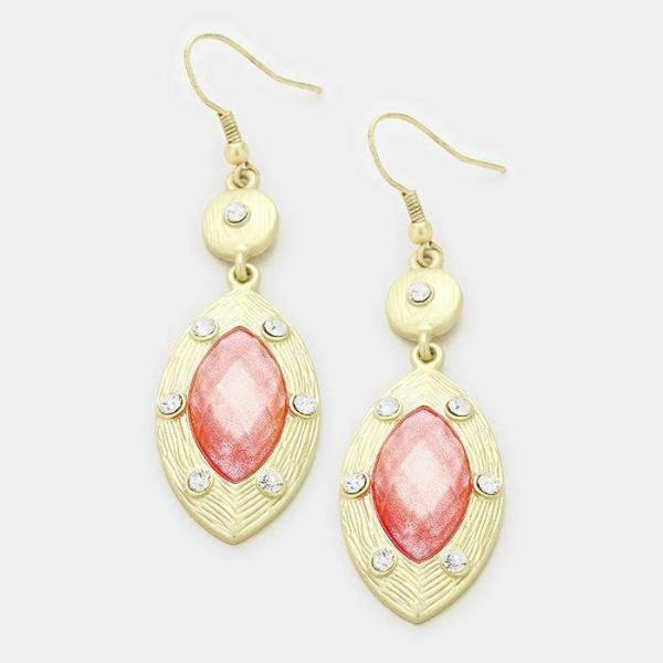 Shimmery Marquise Matte Gold & Pink Crystal Pierced Earrings