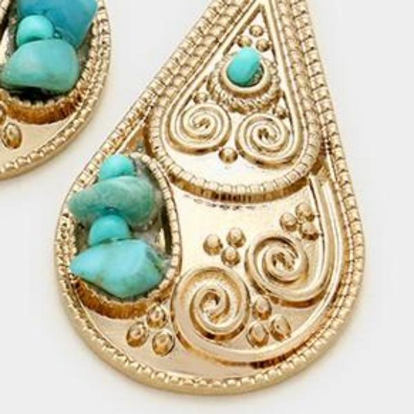 Turquoise Beads Teardrop Antique Gold Pierced Earrings