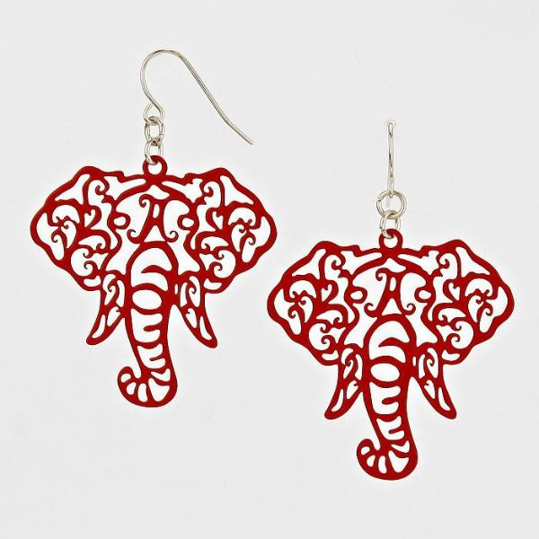 Elephant Cut Out Filigree Red Earrings