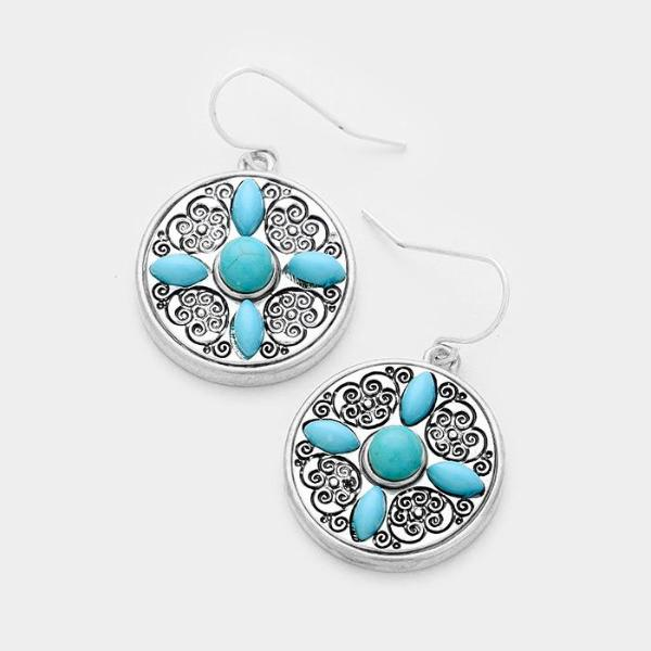 Patterned Round Turquoise (Faux) Antique Silver Dangle Earrings