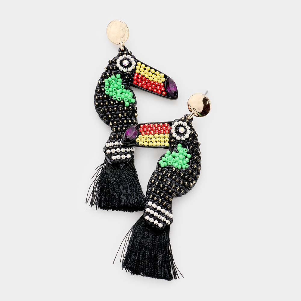 Toucan Tassel Black Seed Bead Earrings